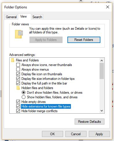 Cách hiện ẩn tên đuôi file tập tin trên máy tính windows 10