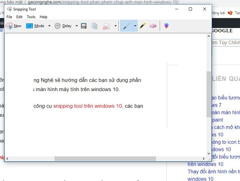 Snipping Tool phần phềm chụp ảnh màn hình windows 10