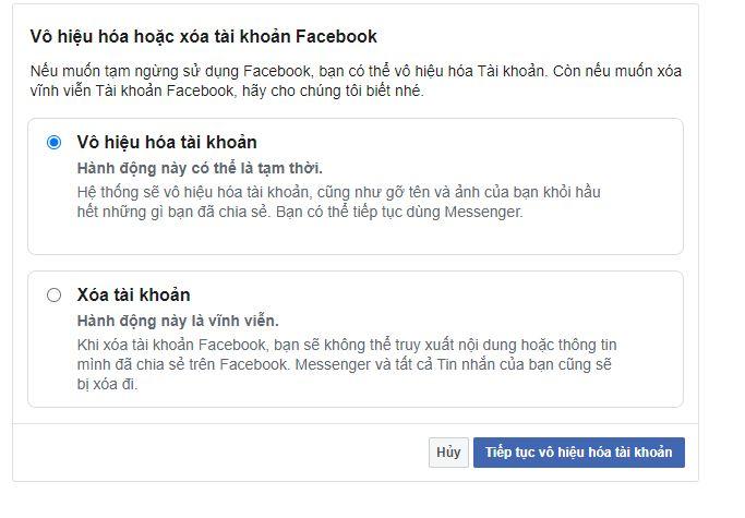 Xóa vô hiệu hóa tài khoản trang cá nhân facebook