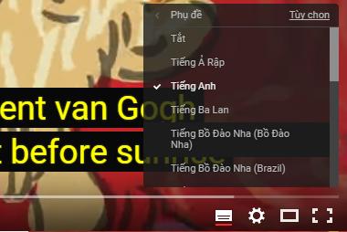 Thay đổi ngôn ngữ phụ đề video youtube
