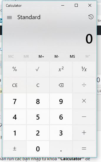 Cách bật dùng máy tính bỏ túi ảo trên máy tính windows 10