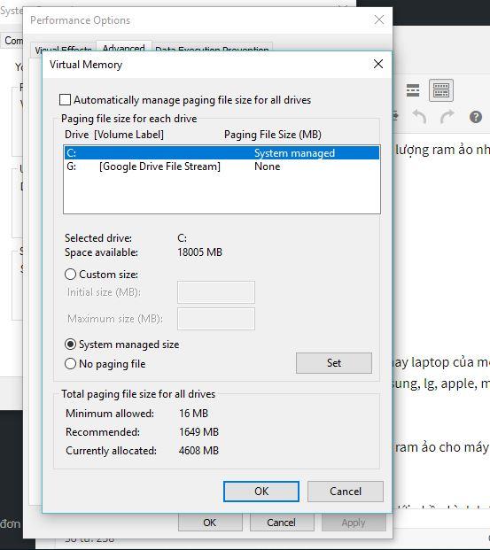 Cách tạo ram ảo chỉnh ram ảo cho máy tính windows 10