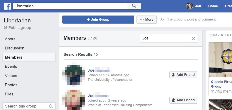 Tìm kiếm thông tin một người trên mạng xã hồi facebook